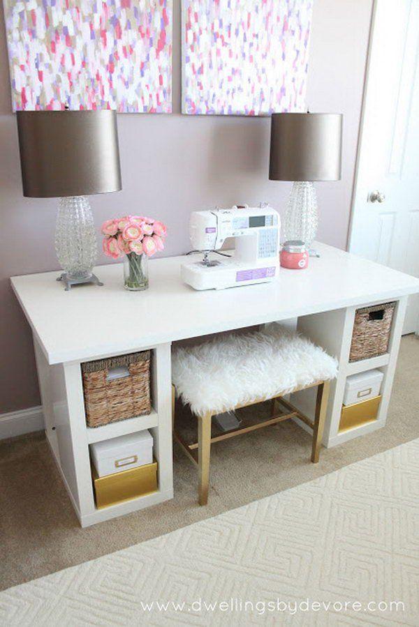 20+ Cool and Budget IKEA Desk Hacks | Escritorio de costura
