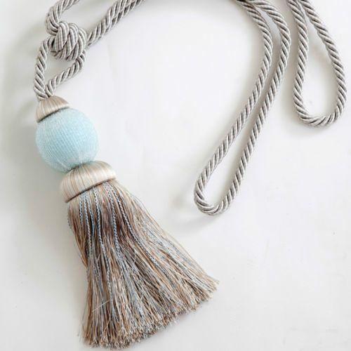 Luxurious Beaded Tassel Curtain Tie-Back Duck Egg Blue