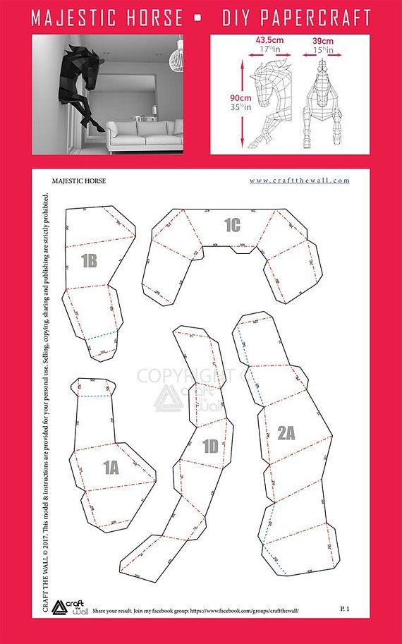 Papercraft Horse Papercraft Diy Horse Paper Craft Low Poly 3d