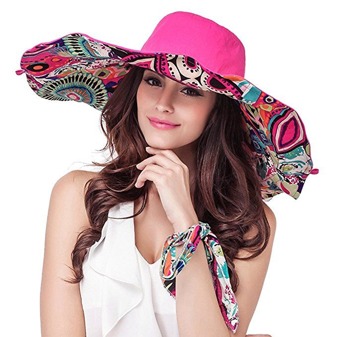 f04a55166df31 Women s Reversible Foldable Floppy Sun Hat with Wide Brim UPF 50+ ...