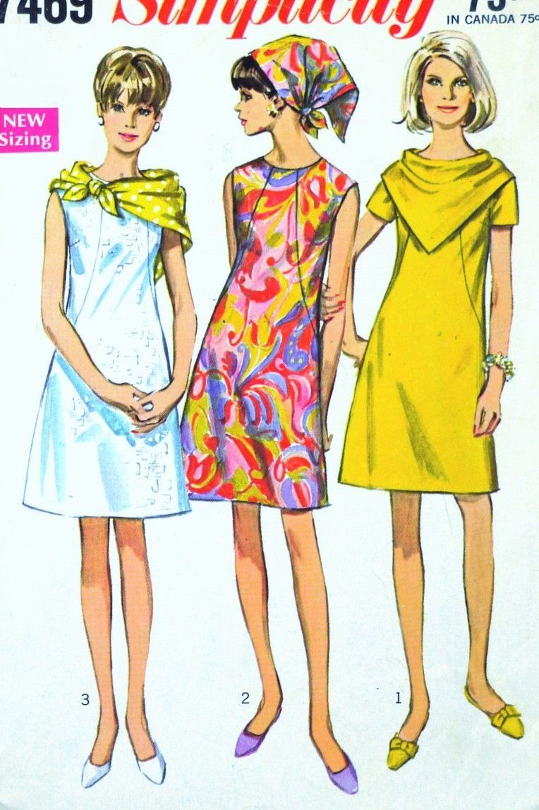 1960s MOD Dress Pattern SIMPLICITY 7469 With Two Scarves Easy To Sew ...