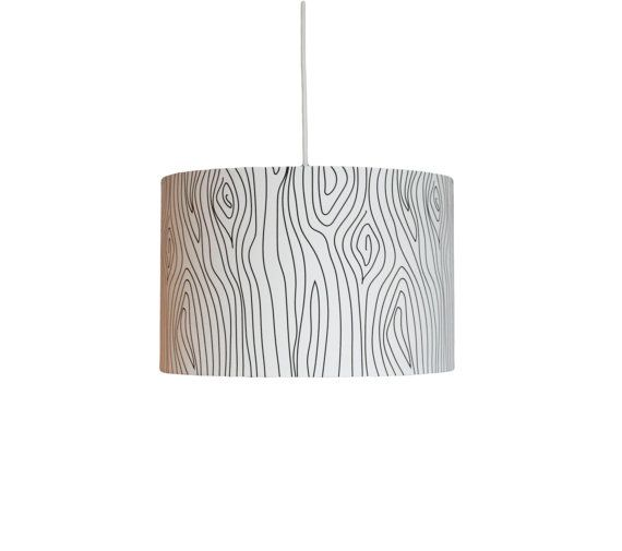 """Drum Pendant Light - """"Winter Oak"""" - Black and White - Choose Your Size on Etsy, $217.95 CAD"""