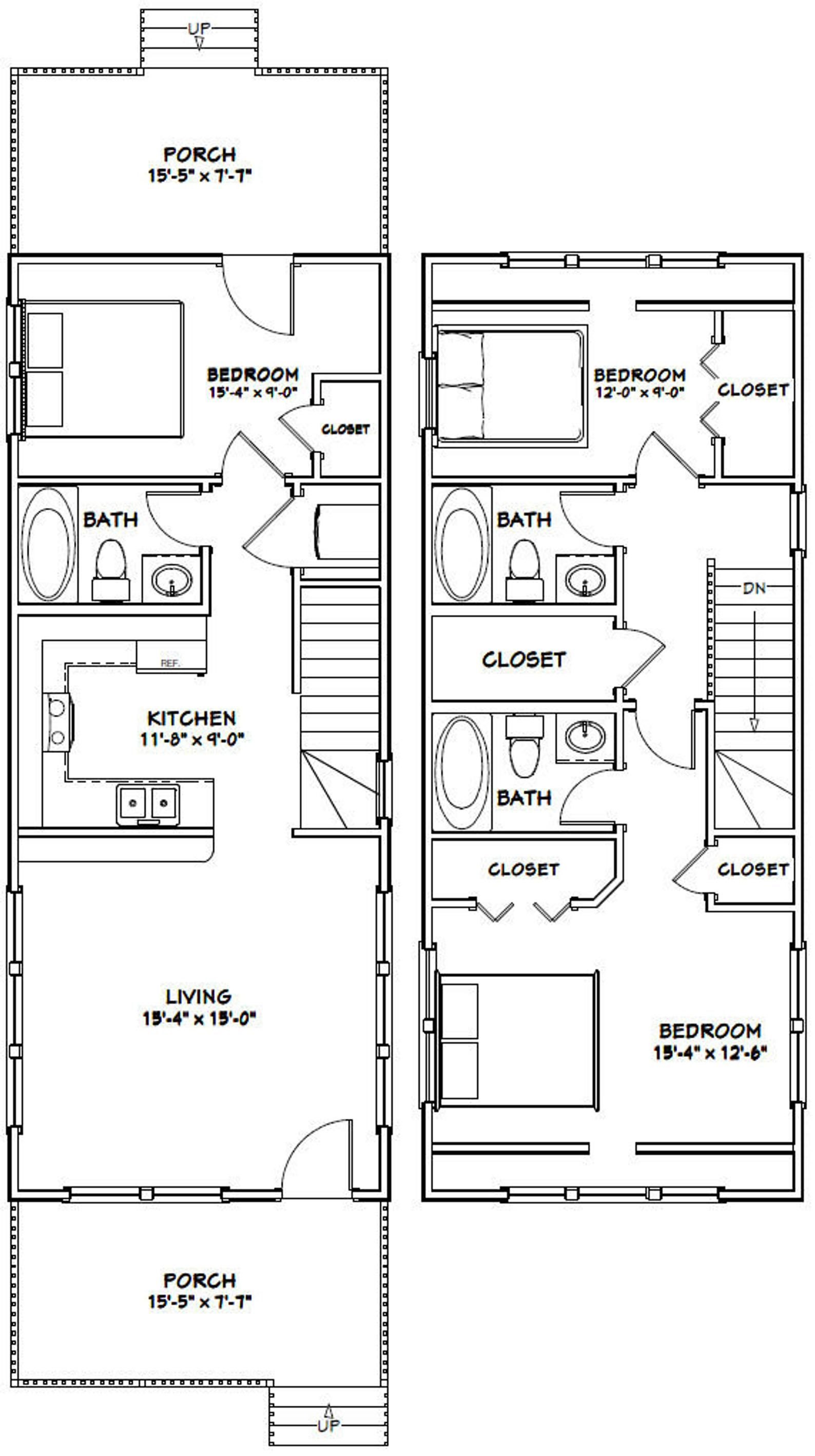 16x40 House 1193 Sq Ft Pdf Floor Plan Instant Etsy Narrow House Plans Tiny House Floor Plans Small House Floor Plans