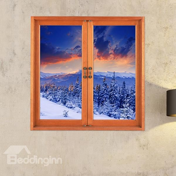 Snow-covered Mountains and Pine trees Window View Removable 3D Wall Stickers - beddinginn.com