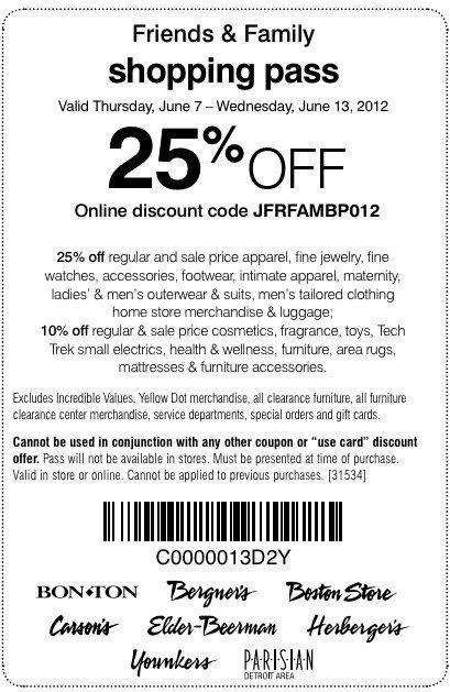 Carson Pirie Scott 25 Off Printable Coupon Clothing Coupons Printable Coupons Online Discount Codes