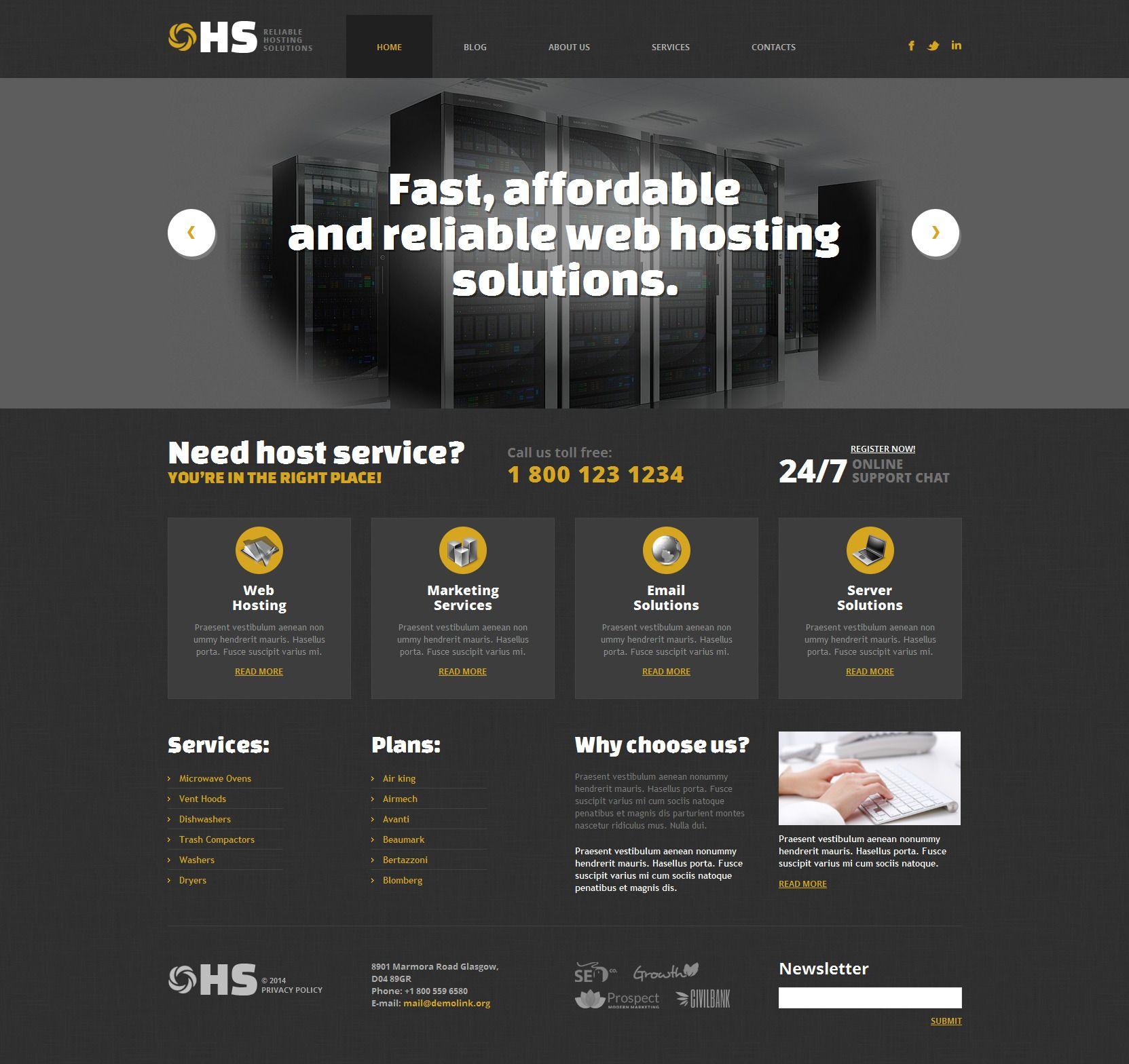 Hosting Responsive WordPress Theme | Wordpress, Wordpress template ...