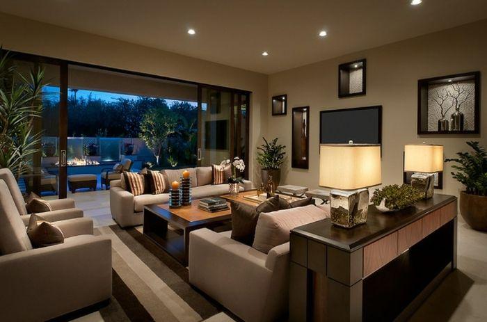 deco salon moderne dco salon cosy canaps en couleur taupe lampes abat jour fauteuils modernes