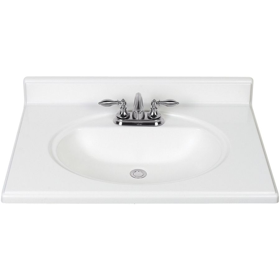 Style Selections White Cultured Marble Integral Single Sink Bathroom Vanity Top Common 31