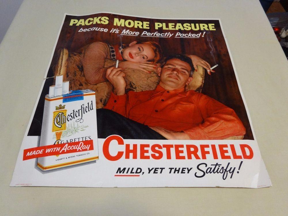 Chesterfield cigarettes tobacco cardboard sign 21\' x 22\