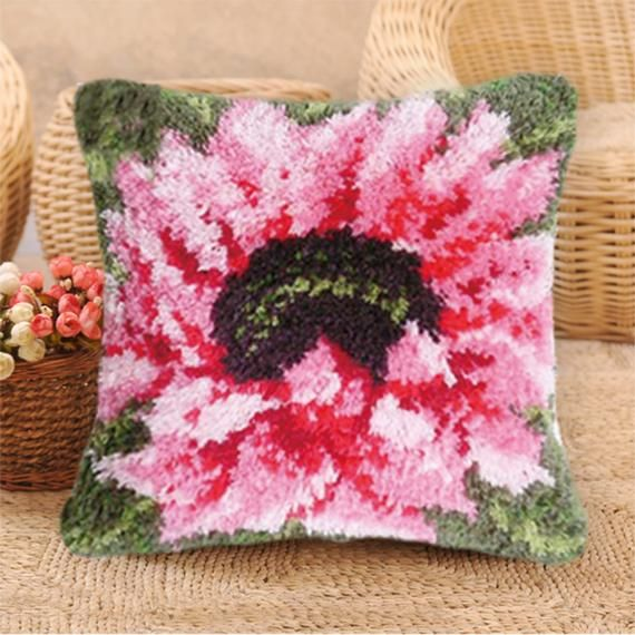40x40cm Hook Pillow Embroidery Kit DIY Needlework Sets Unfinished Crocheting Yarn Latch Hook Rug Kit