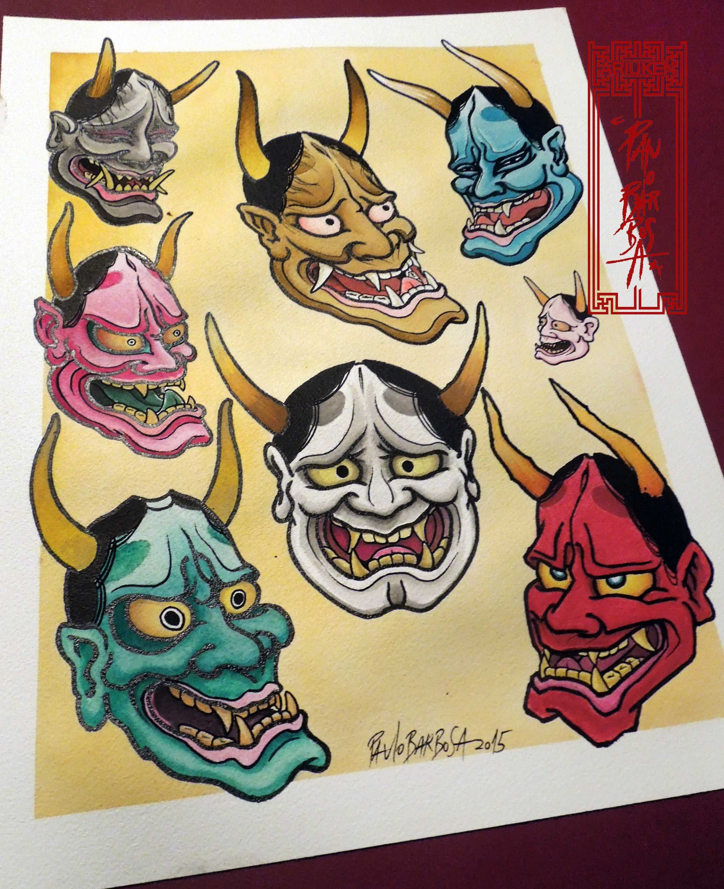 traditional japanese mask tattoo flash the image kid has it. Black Bedroom Furniture Sets. Home Design Ideas