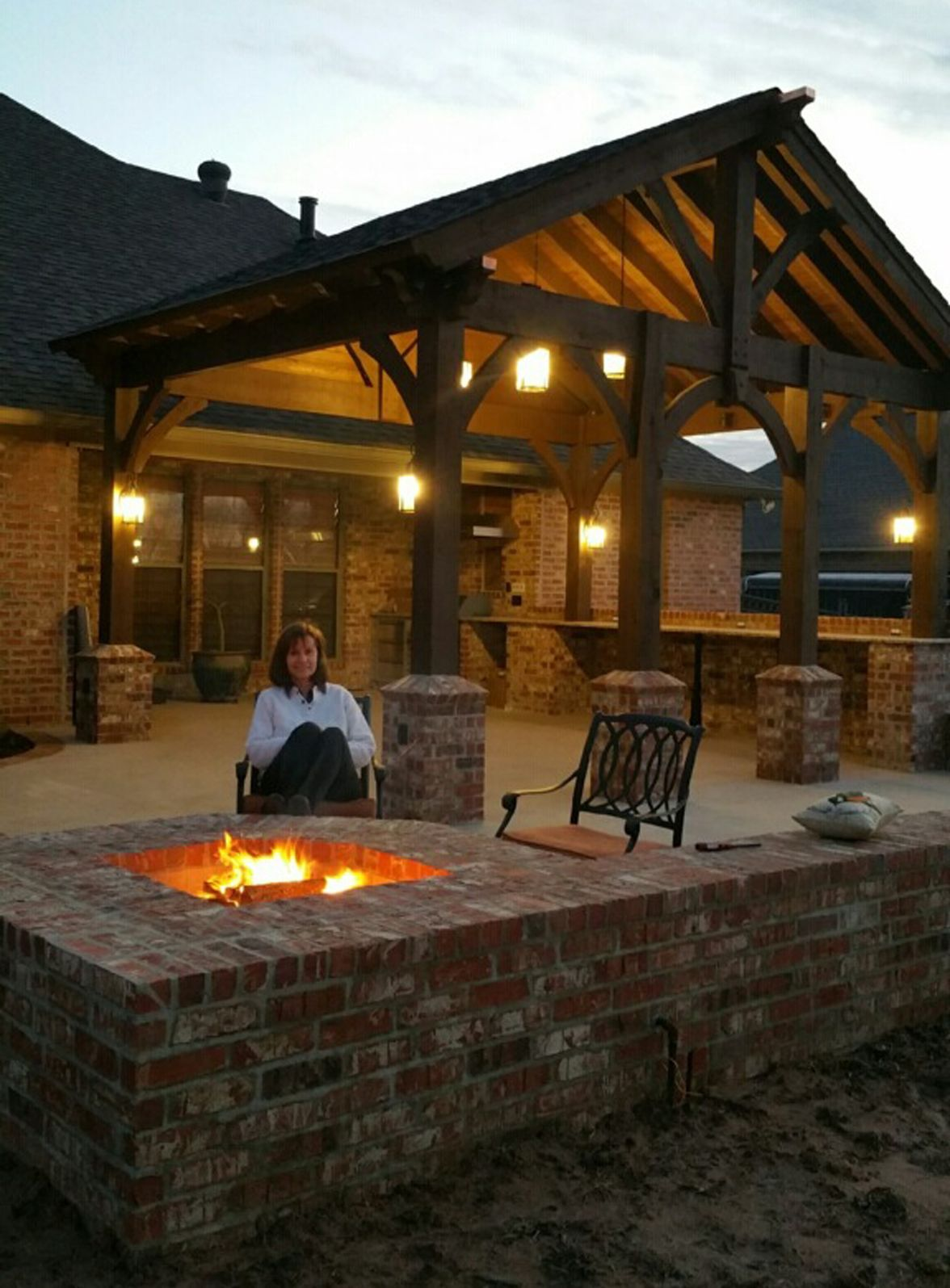 Covered patio lights - Fire Pit Pavilion Shade Patio