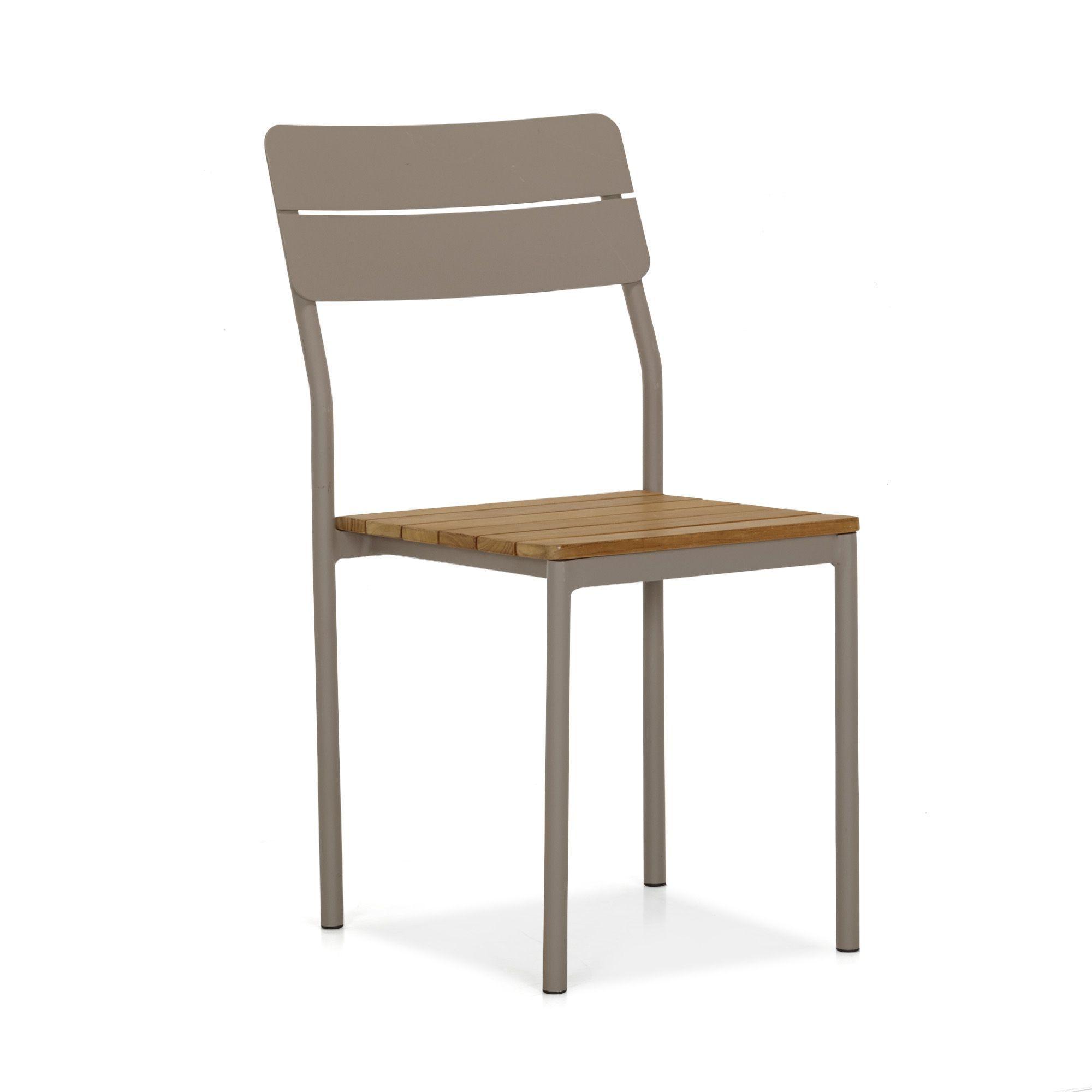 Chaise de jardin en teck et alu finition mat Taupe/naturel ...