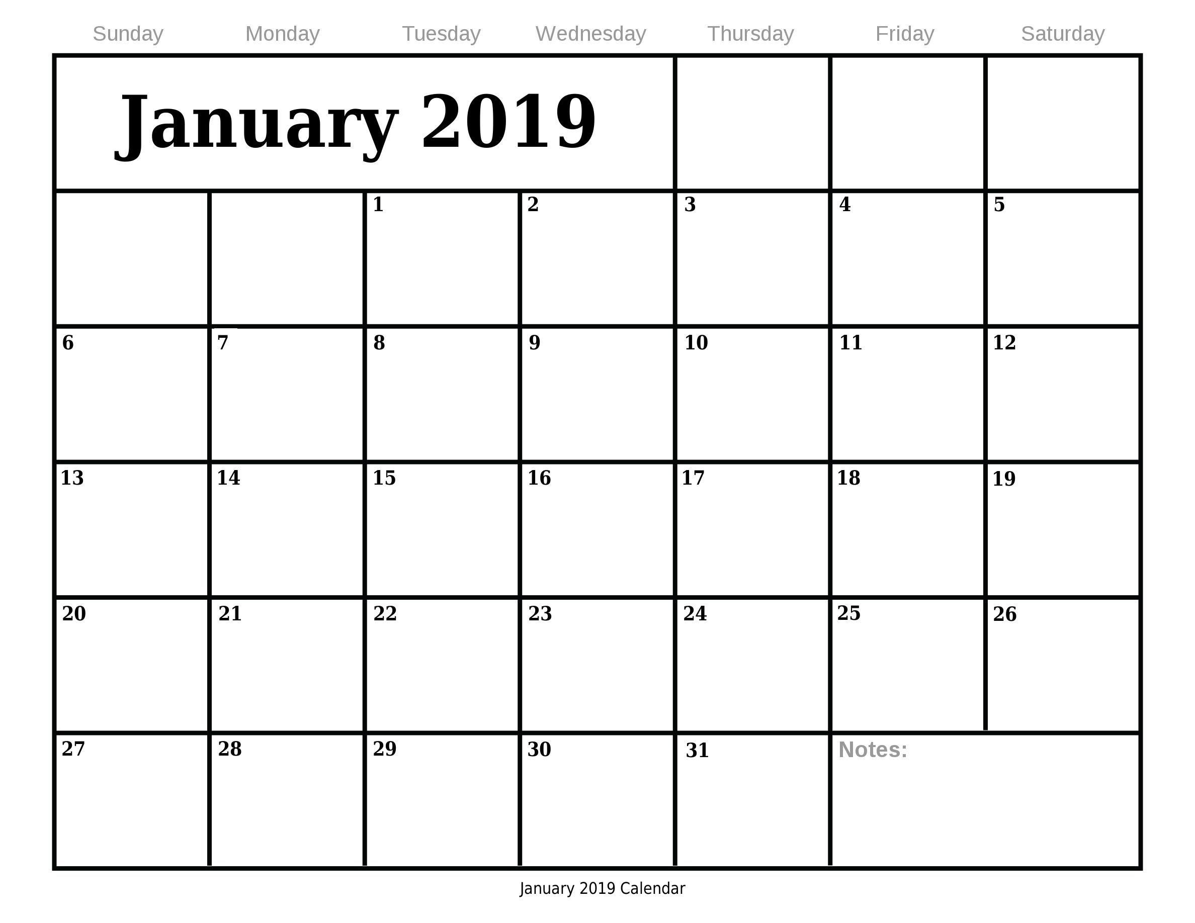 January 2019 Blank Calendar Printable January2019calendar