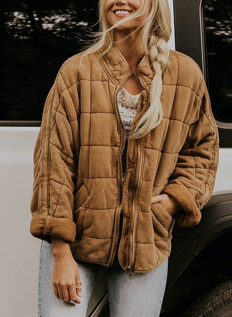 Zipper Quilted Coat With Pocket Jacket Outerwear Fashionlulus Quilted Jacket Fall Denim Jackets [ 1091 x 800 Pixel ]
