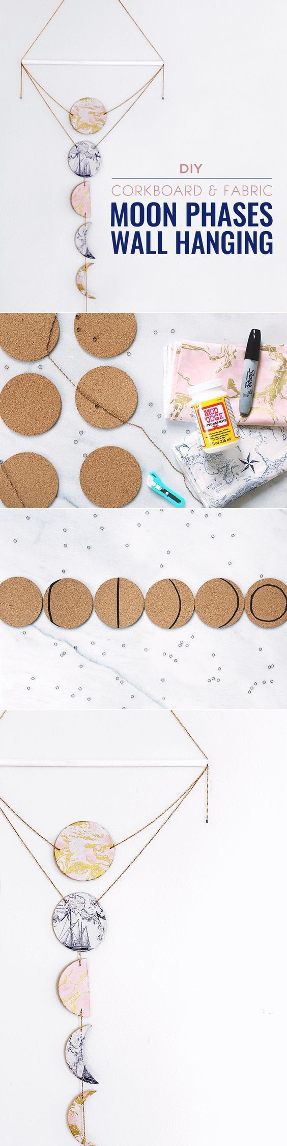 I absolutely love this new spin on the moon phases wall hanging it this diy moon phases wall hanging is fun and unique bring in a bit of the night sky with a wall hanging that looks professional even if you did do it solutioingenieria Gallery
