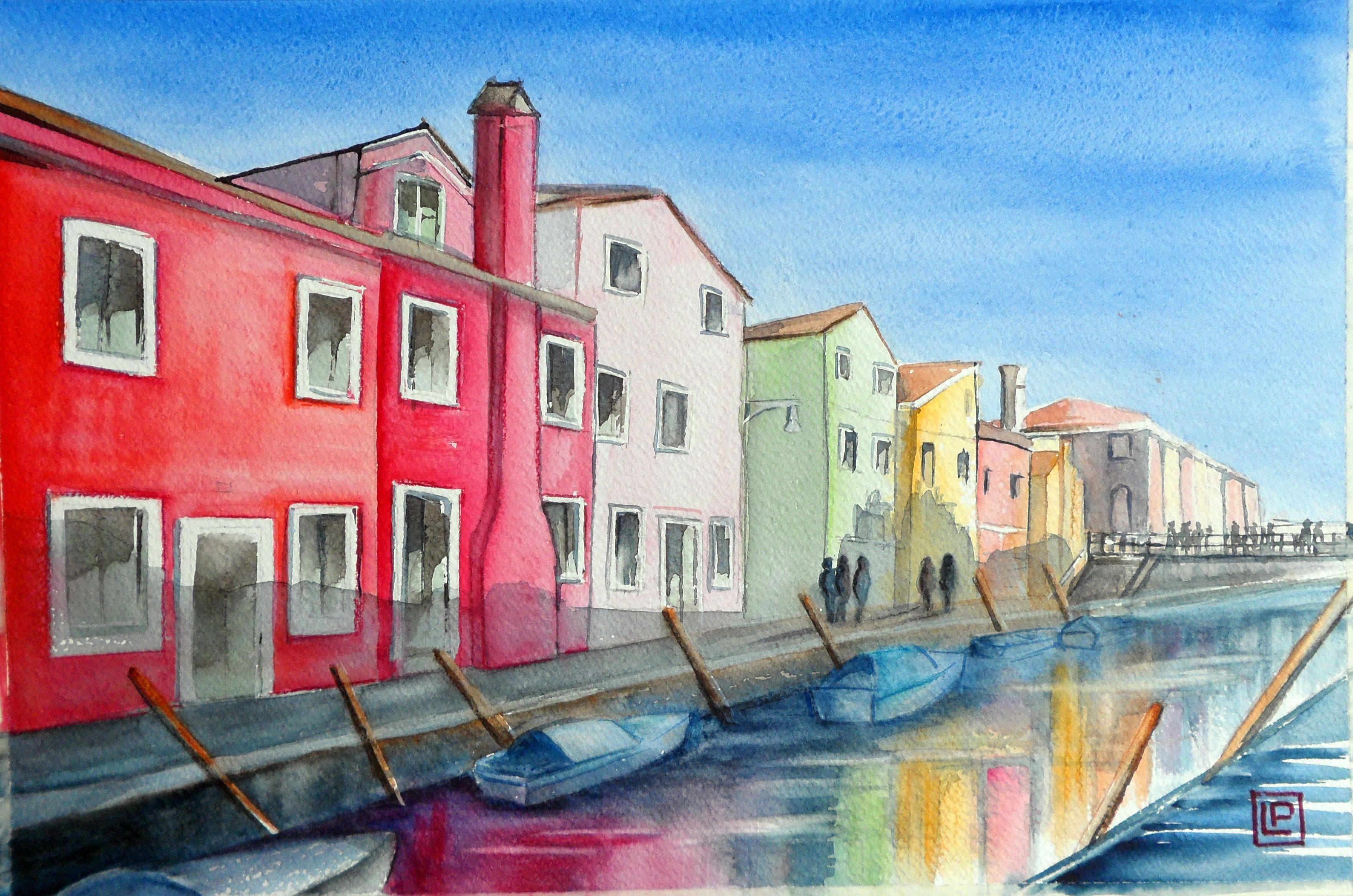 """Burano Italia """"acquerello 30x45 di Lorenza Pasquali Paintings """""""