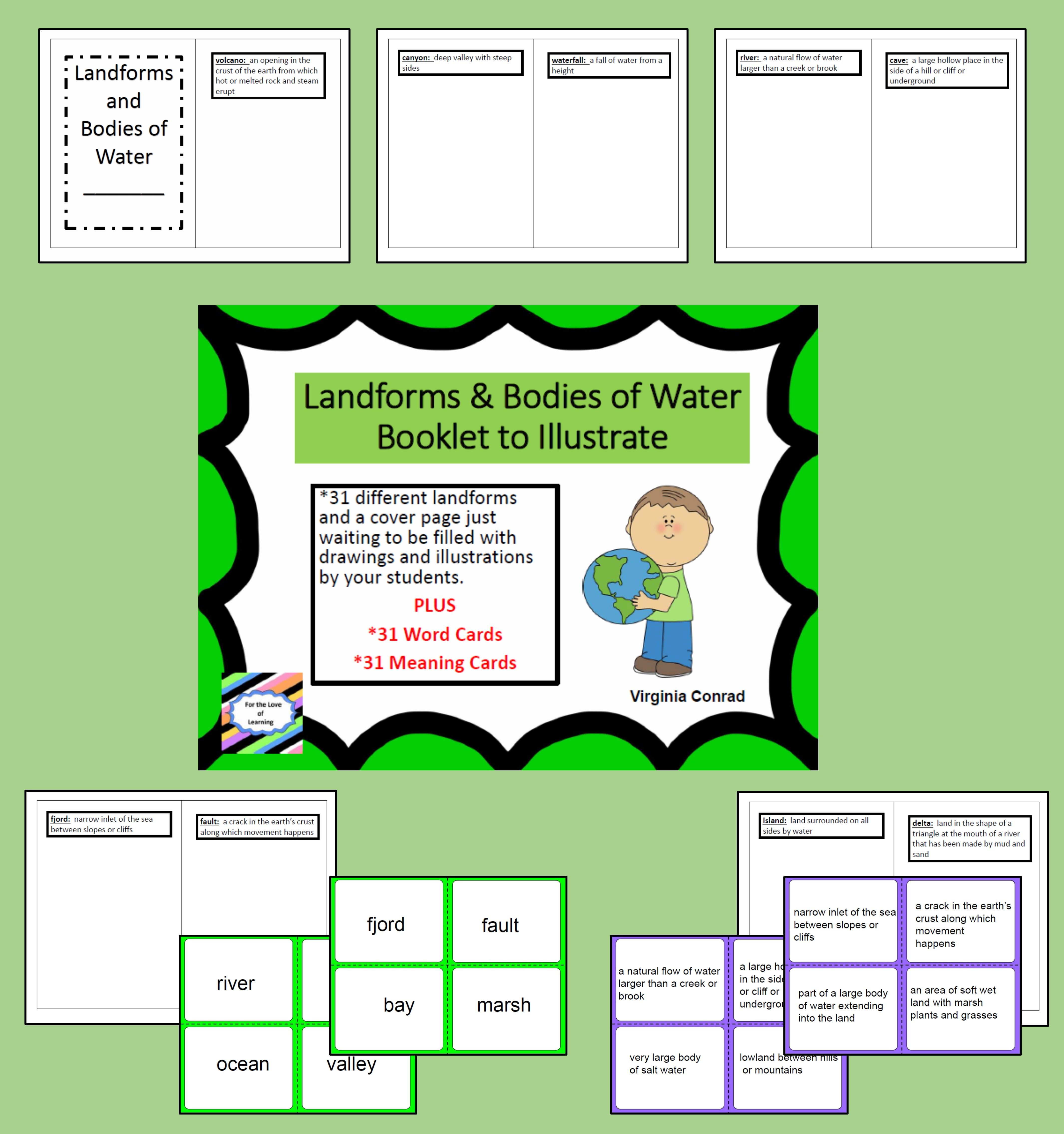 Worksheets Landforms And Bodies Of Water Worksheet landforms and bodies of water booklet to illustrate vocabulary 31 are the focus this packet