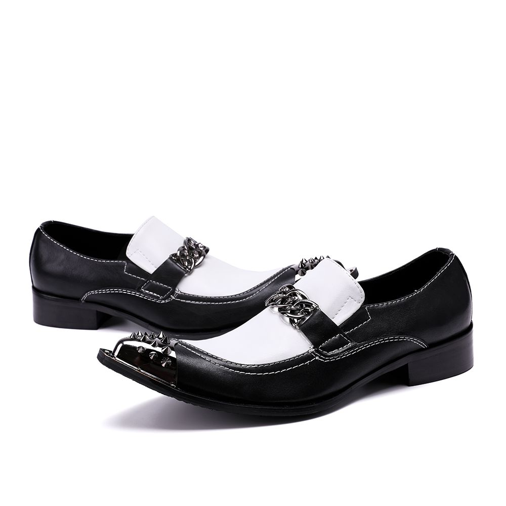 Christia Bella Men S Flats Fashion Brand Designer Dress Shoes Black And White Chain Casual For Wedding Party