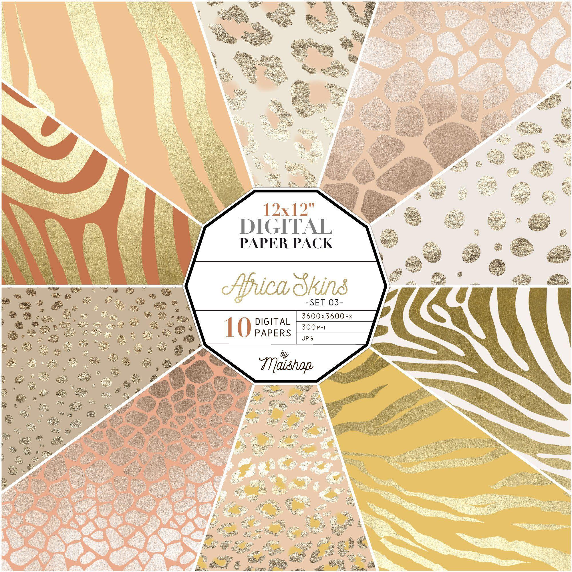 Digital Download Printable Paper Africa Skins Set 03 Safari