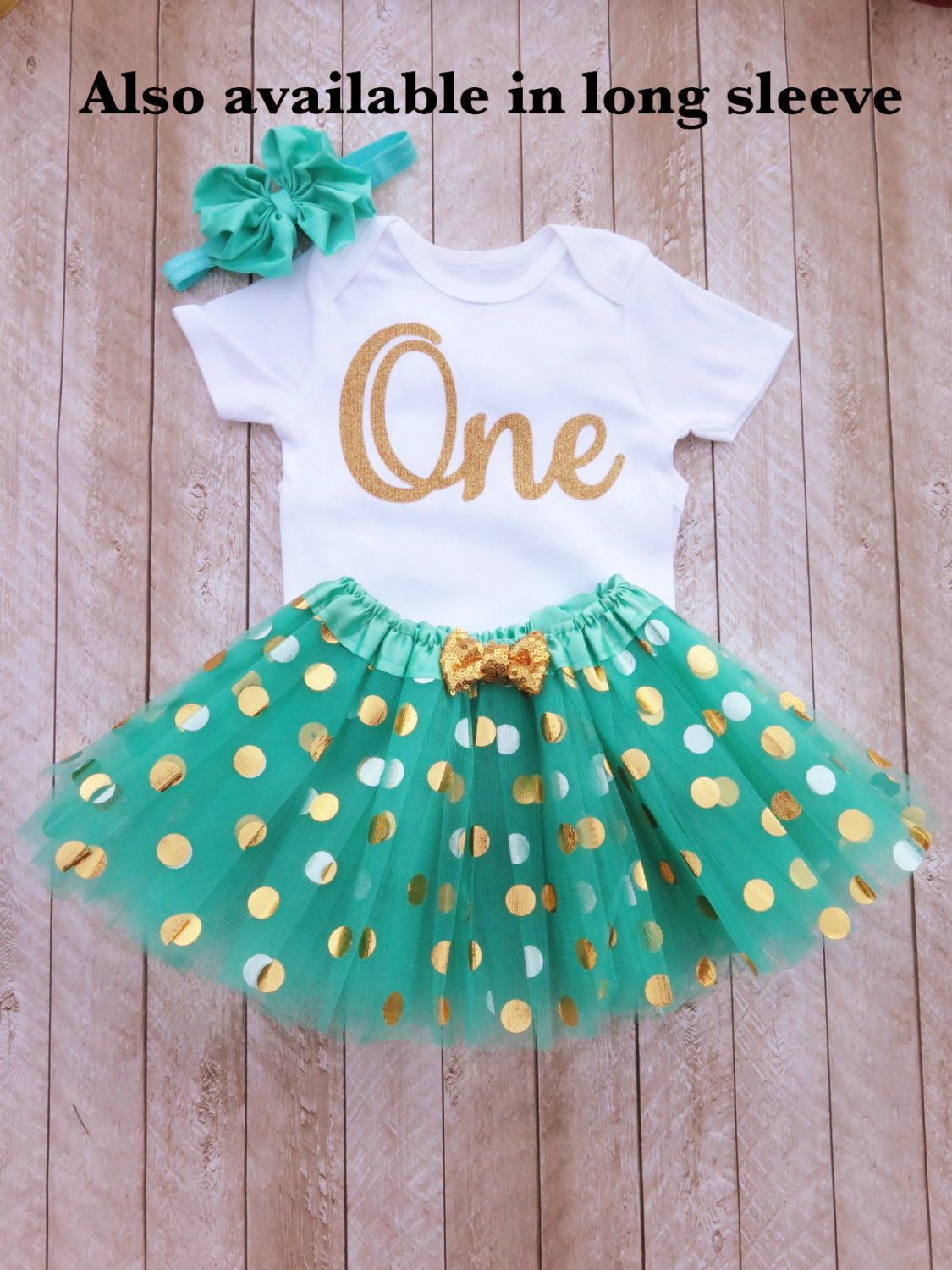 Mint and gold first birthday outfit One year old outfit
