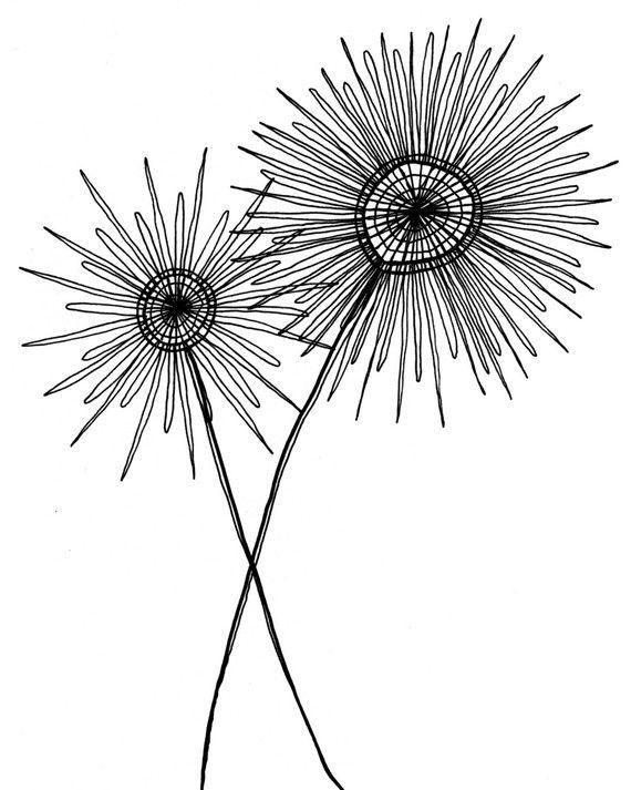 Black and white drawing - simple, modern, fantastic. (etsy seller SarahKnaack)