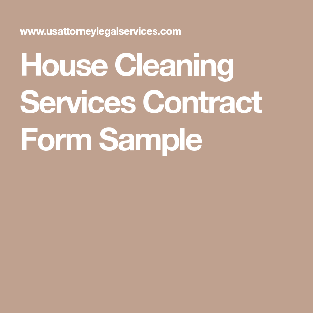 House Cleaning Services Contract Form Sample  Starting A Cleaning