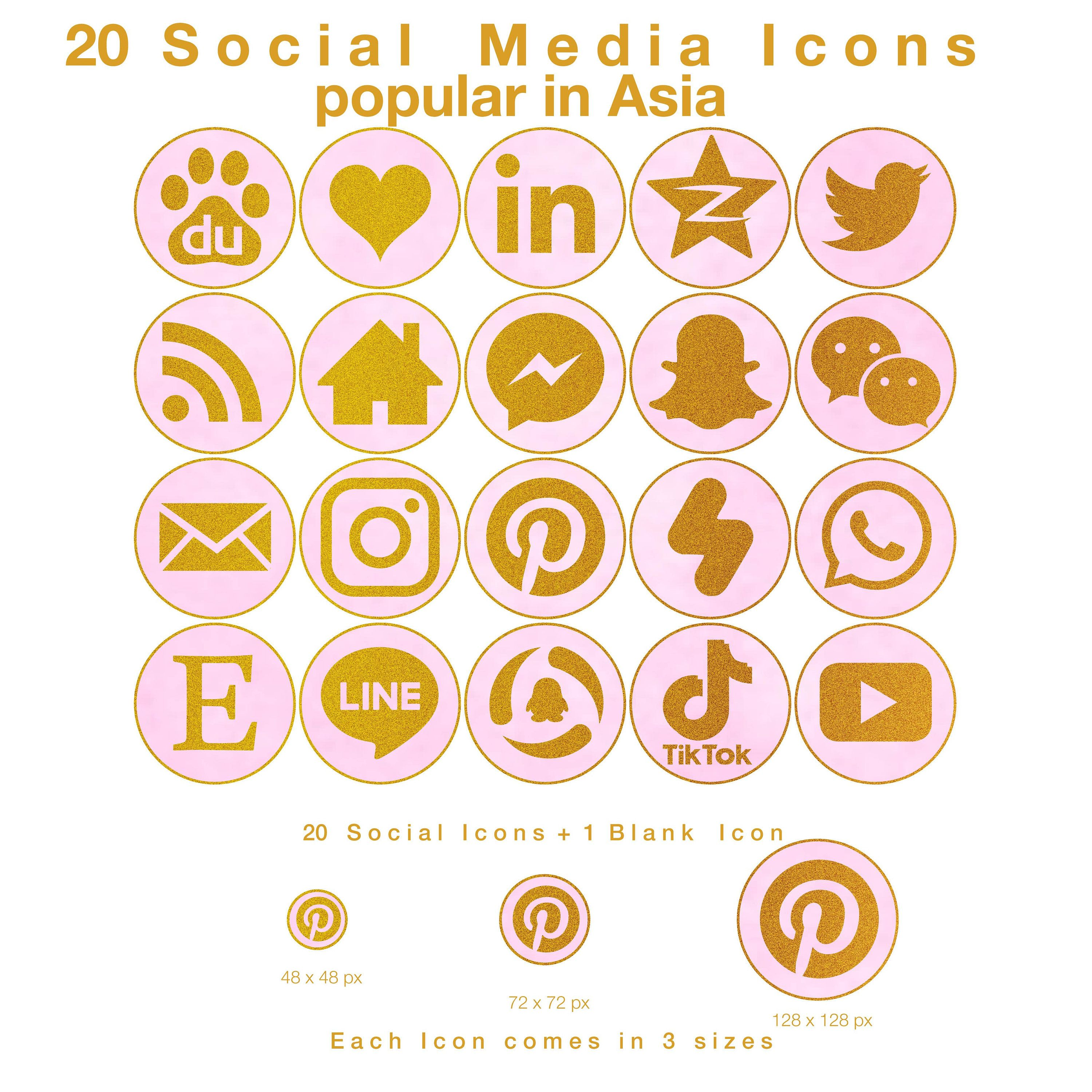 20 Web Blog Icons For Social Media Popular In Asia Gold On