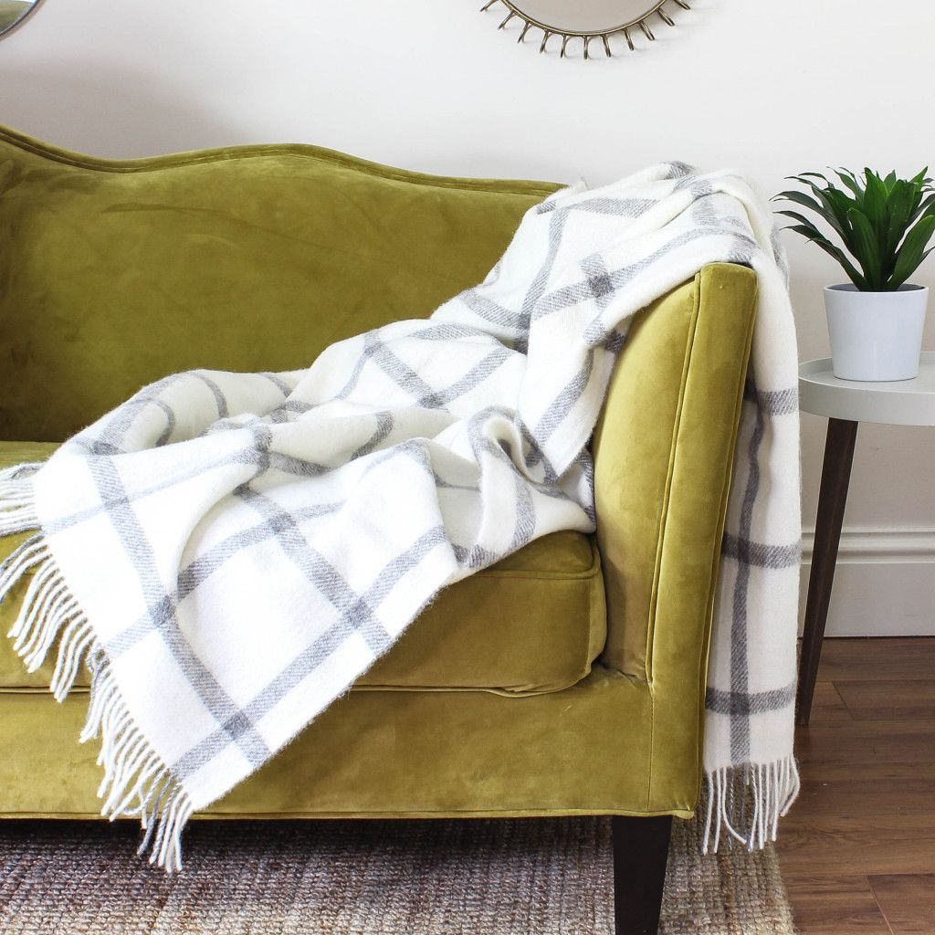 Natural Cream And Grey Check Wool Throw Decorating With