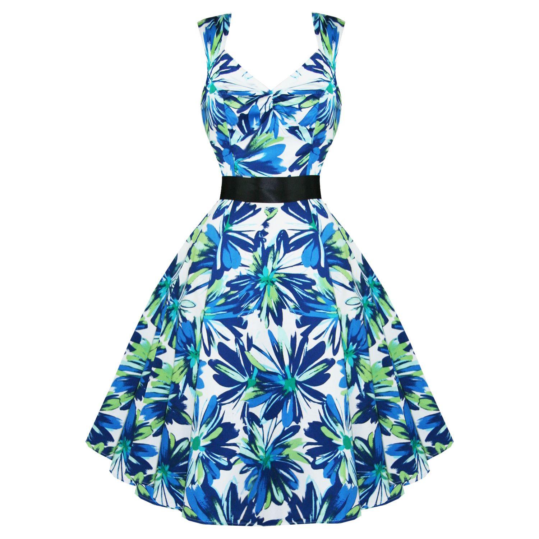 Vestito Donna Floreale Blu Verde Stile Rockabilly Vintage Anni \'50 ...