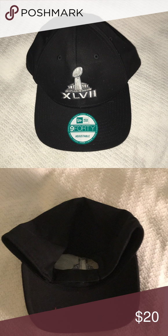 6547446116b Super Bowl hat Brand new never worn official Super Bowl XLVII hat. Adjustable  band. Silver embroidery on black hat. New Era Accessories Hats
