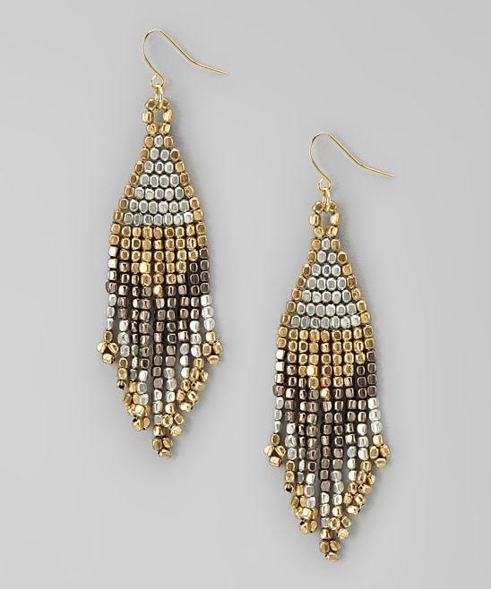 Metallic Beaded Chandelier Earrings