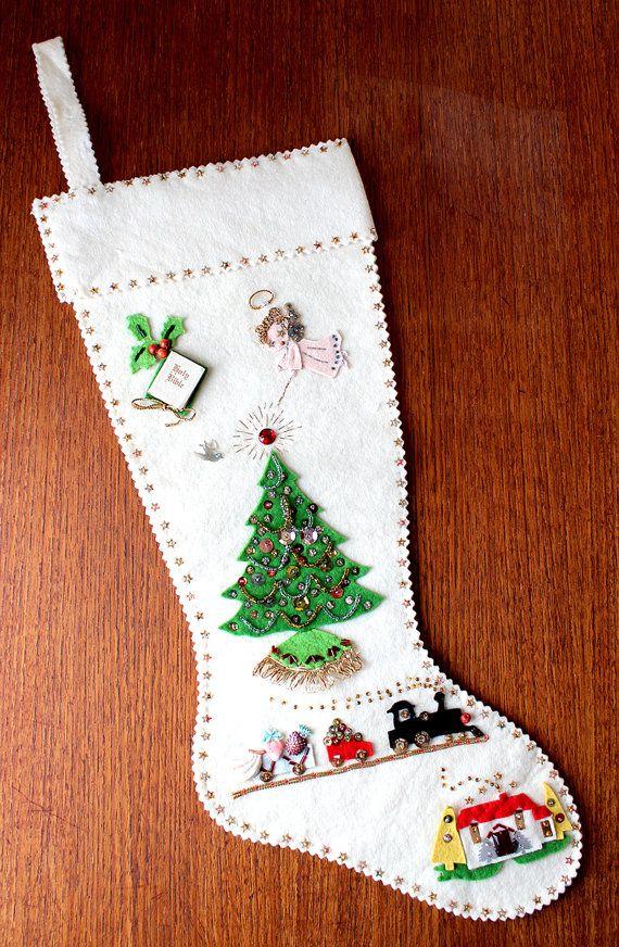 Vintage Felt Sequin Christmas Stocking Fireplace Mantel Stocking Stuffer Vintage Holiday Stocking Vintage Christmas Christmas Tree