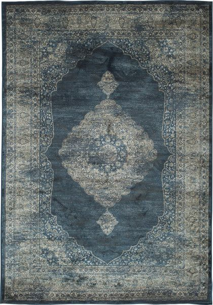 Navy Blue and Silver Faded Worn Overdyed Style Rug - Woodwaves