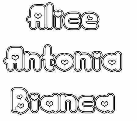 Alice Antonia Bianca Letra Maiuscula Nomes De Criancas Letras