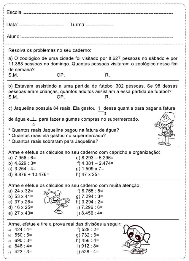 Fabuloso Resolva os problemas - Atividades de Matemática 4º ano. – Educação  DL06