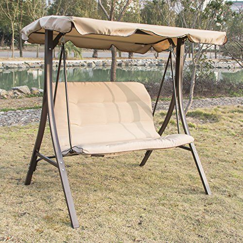 Walcut Outdoor Indoor Sturdy Frame Porch Swing Chair Bed Sand