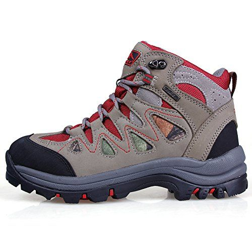 Topsky Womens Outdoor Climbing Breathable Waterproof Hightop Lace Slip Resistant Hiking Shoes Grayred 7 Bm Us Detai Hiking Women Hiking Shoes Trekking Shoes