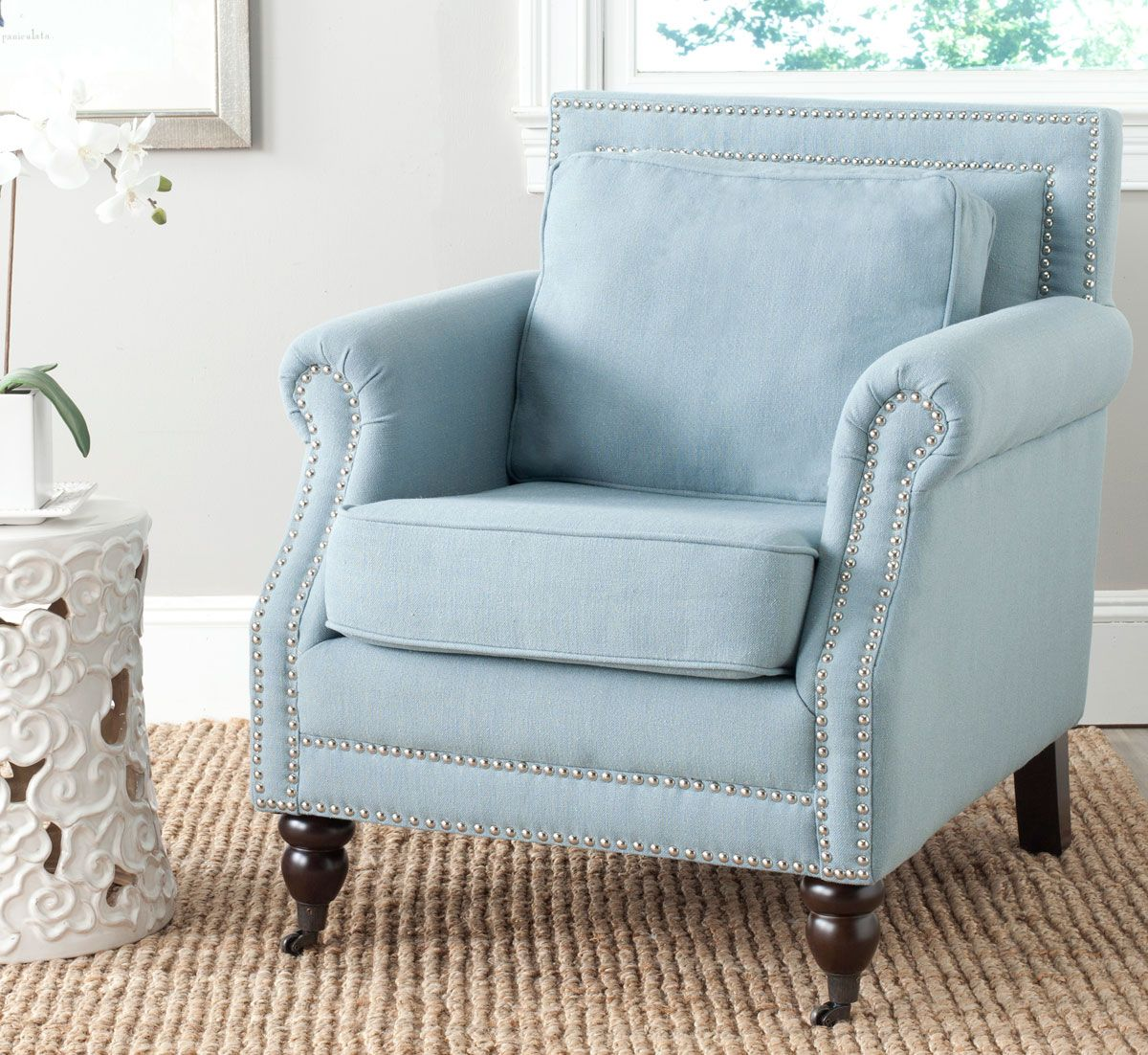 Light Blue Club Chair With Nail Head Trim Enter To Win Living Room