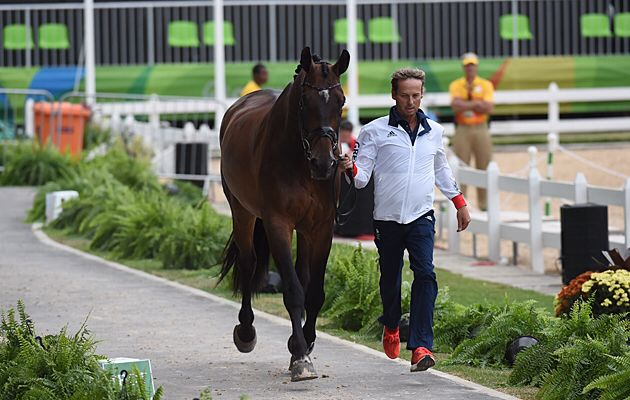 Carl Hester and Nip Tuck at the Olympic dressage trot up