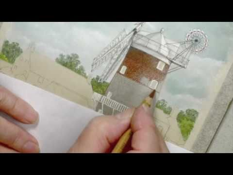 how to draw a windmill with pastel pencils youtube arte