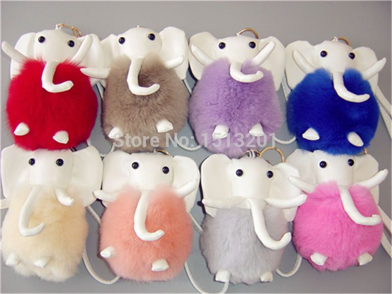 8 Colors Elephants Real Genuine Rex Rabbit Furs KeyChains Ring Pendant Bag Charm Toy Doll Handbag Backpack Accessories with Box