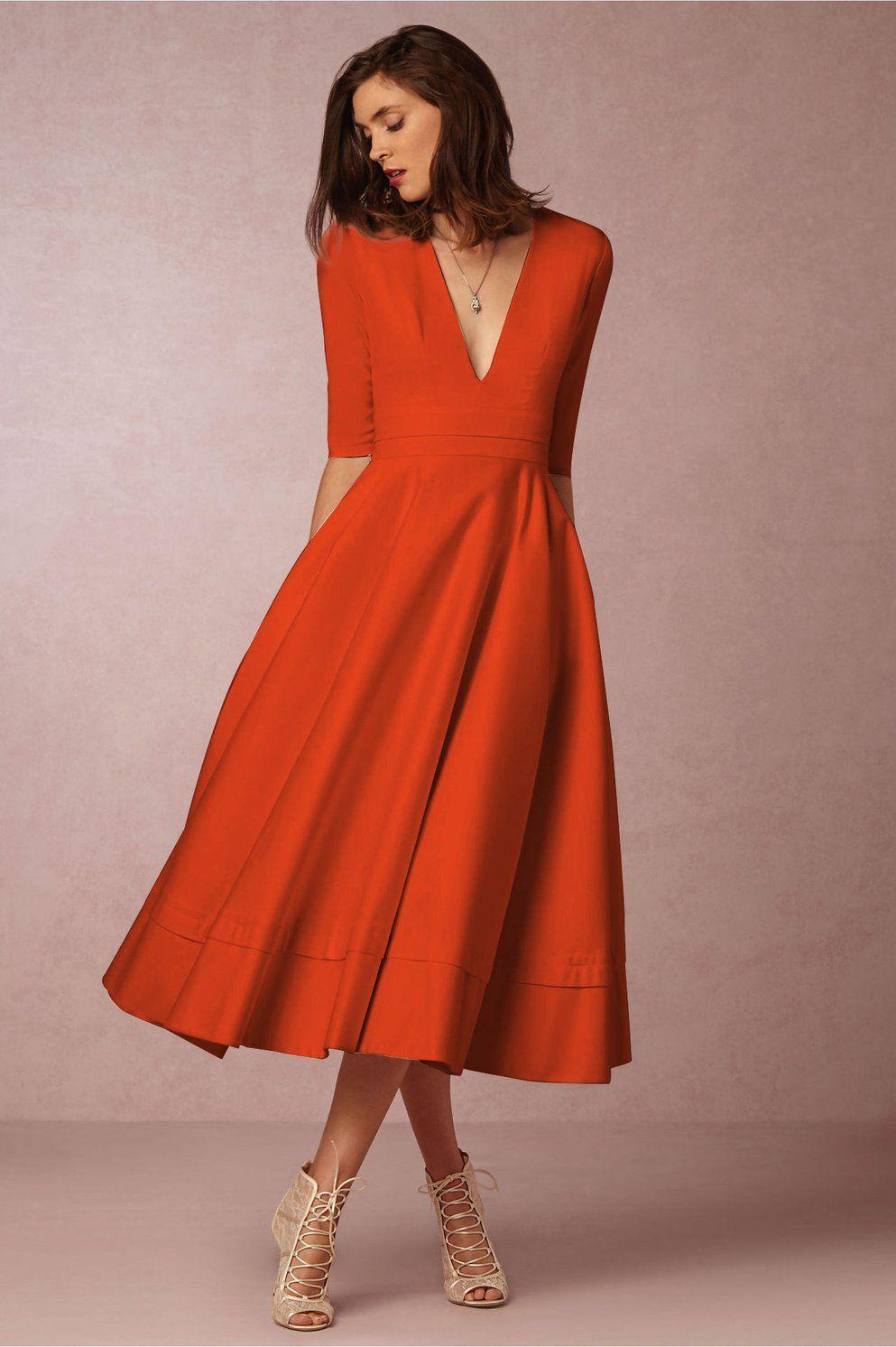 A Chicloth A-line V Neck Half Sleeve Midi Party Dress  Vestidos