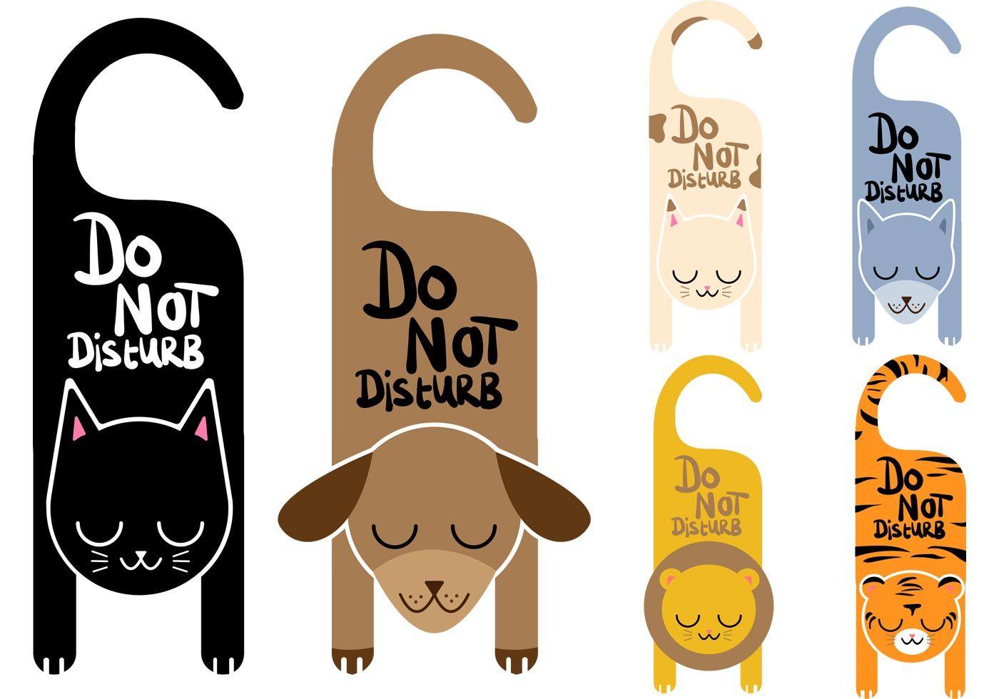 Do Not Disturb Vector Signs Animals Marcadores De Pagina Fofos