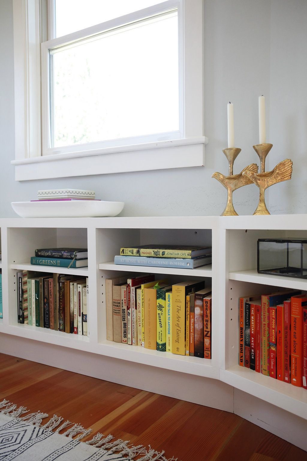 window cushioned and with bookshelves seat bench cushions bookcase bookshelf