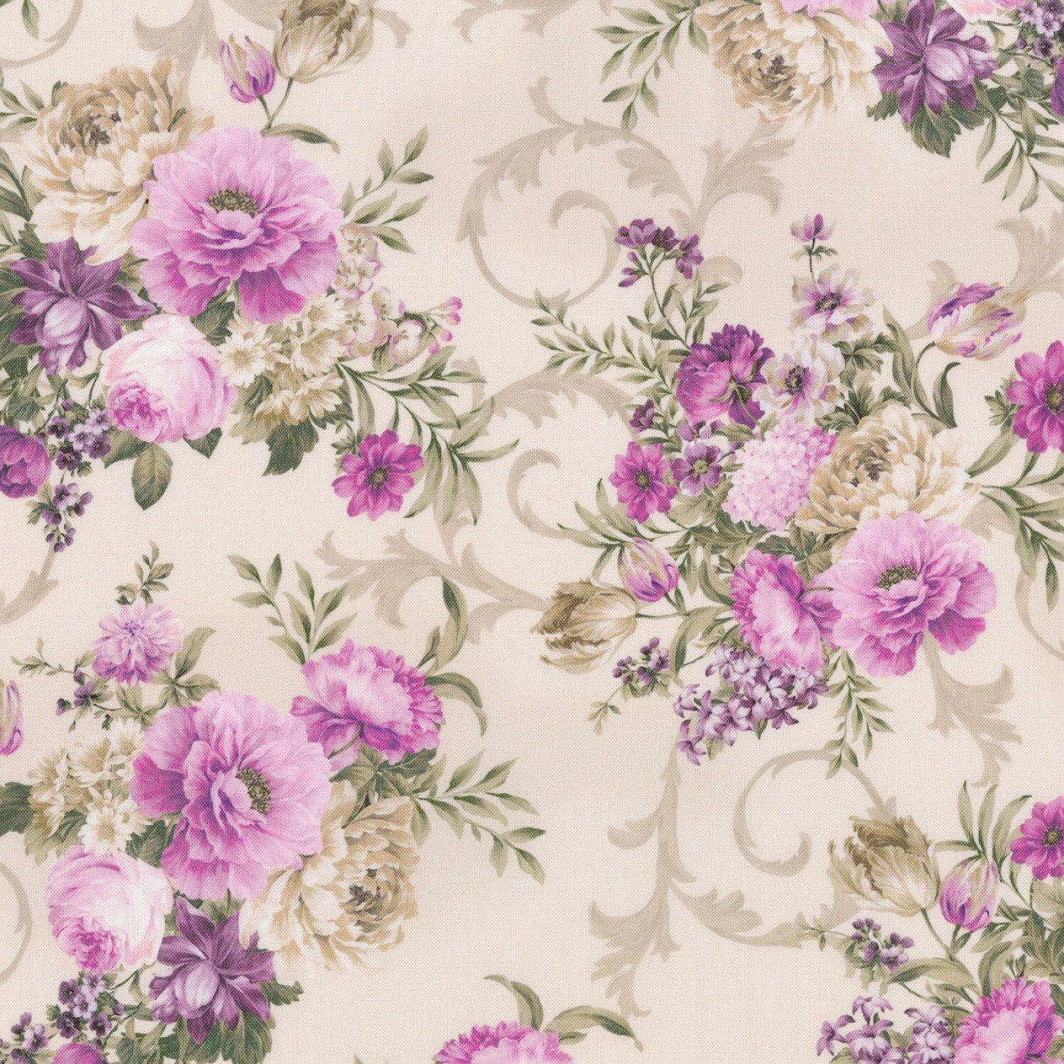 Pink Purple Cream Shabby Floral Cotton Quilting Fabric Meredith Robert Kaufman