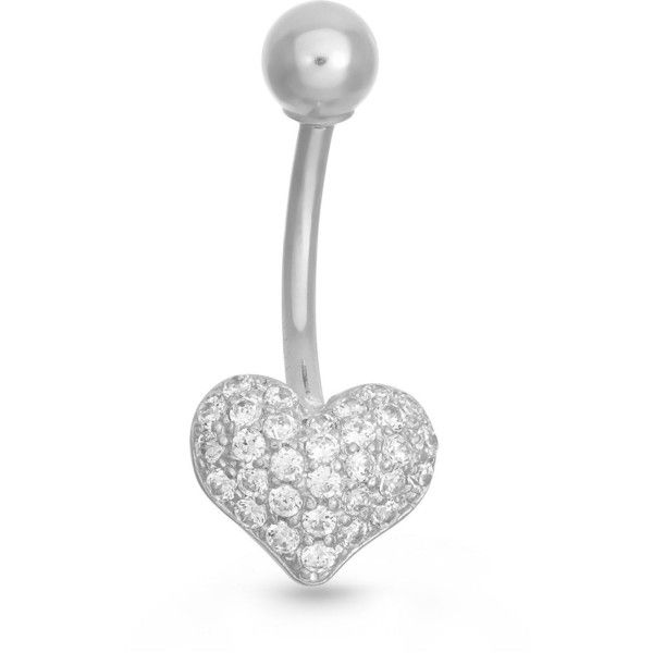 10K White Gold Cubic Zirconia Pave Heart Belly Ring e Size
