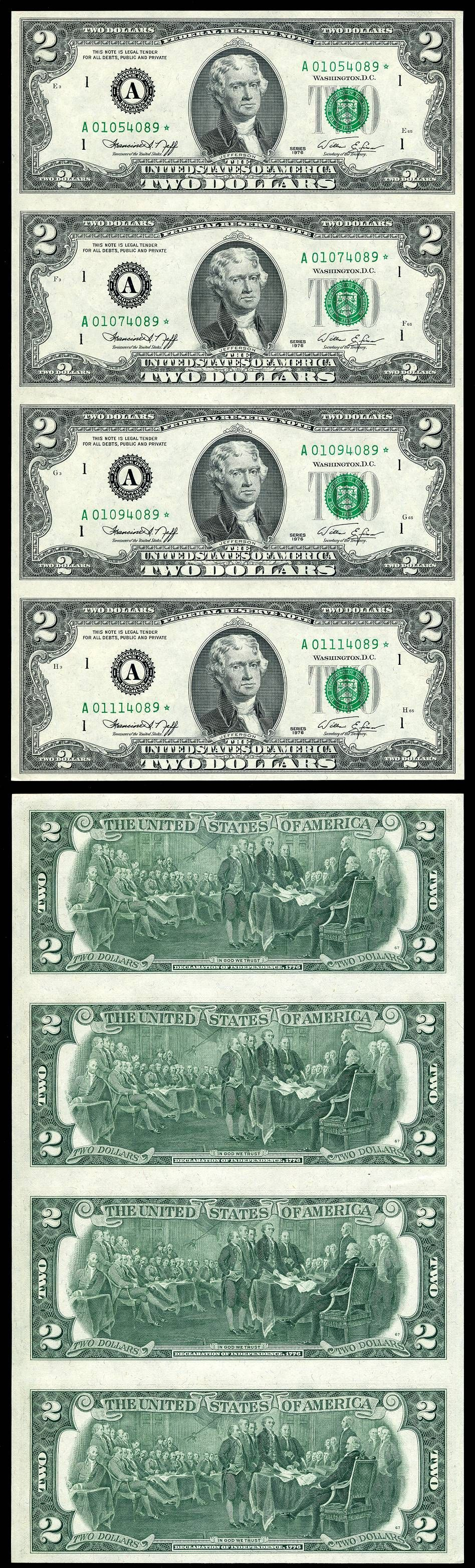 1976 2 Dollar Bills Worth : dollar, bills, worth, Federal, Reserve, Uncut, Sheet, Boston, Massachusetts, District, 4/15/2012, Coins, Worth, Money,, Money, Notes