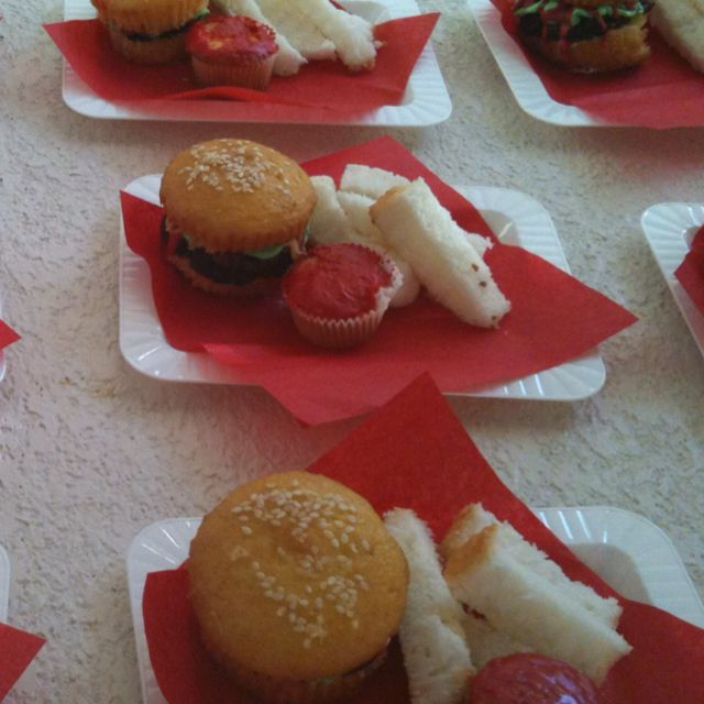 Easy to make burger cupcakes and fries