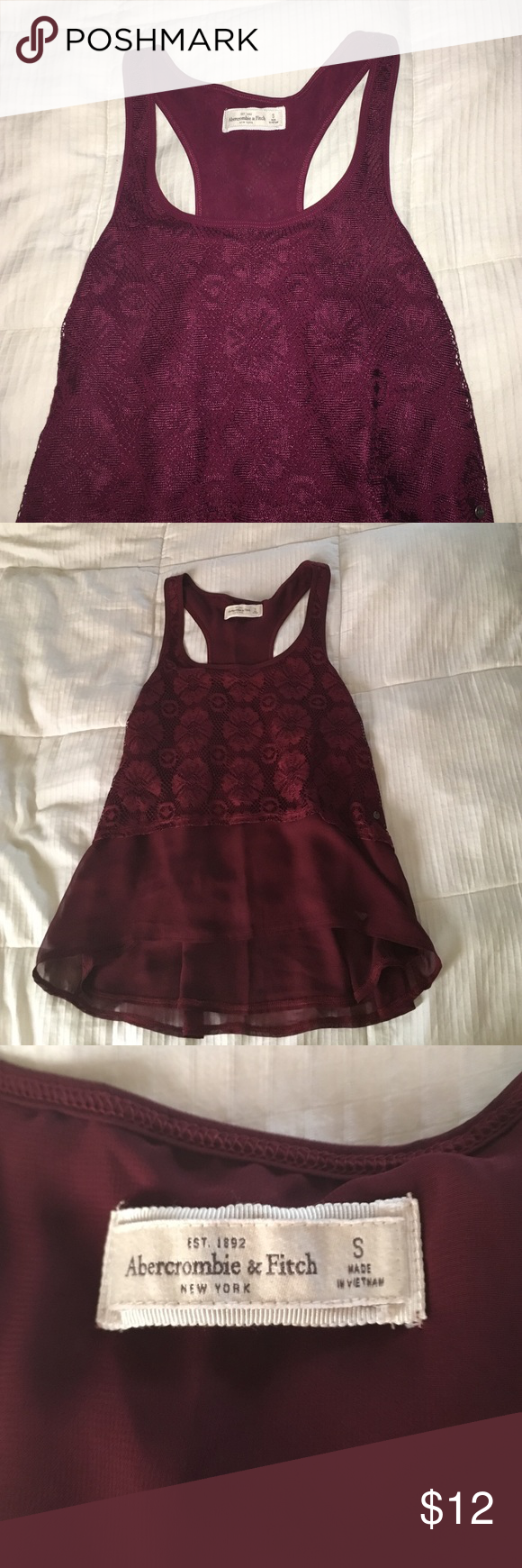 A&F Maroon Lace Top Bought for a vacation but never wore it! I'll take offers, says small but could fit a medium Topshop Tops Blouses